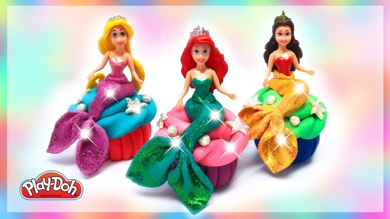 Disney Princess Play-Doh Mermaid Costume Dress UP Ariel Rapunzel Belle Learn Colors with DIY