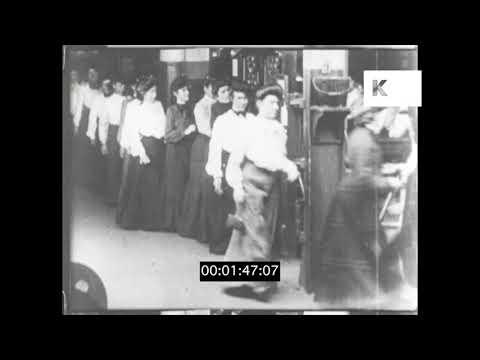 1890s Women Working in a New York Factory, HD from 16mm