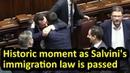 Matteo Salvini's immigration law is passed in Italian parliament English subtitles Decreto Salvini