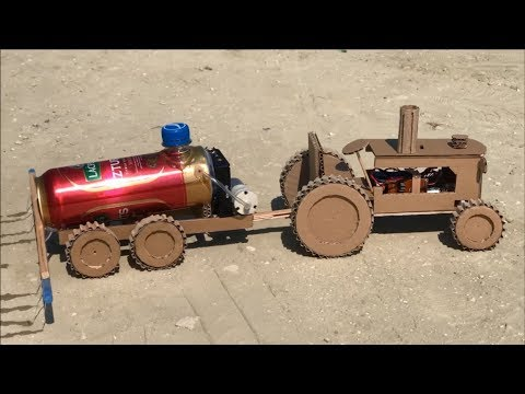 DIY MTZ 1 tractor with mounted sprayer Cardboard toy