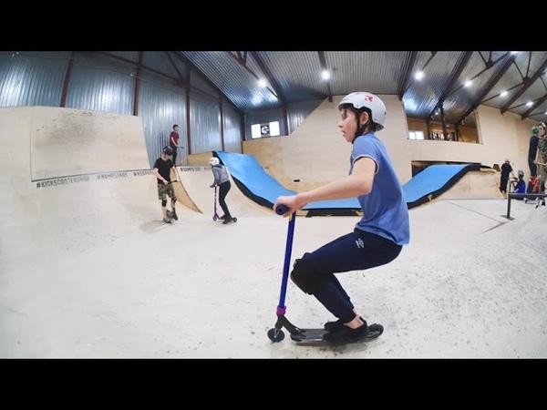 трюки на самокате - @danil_1676 в скейтпарке ksspark 20190209
