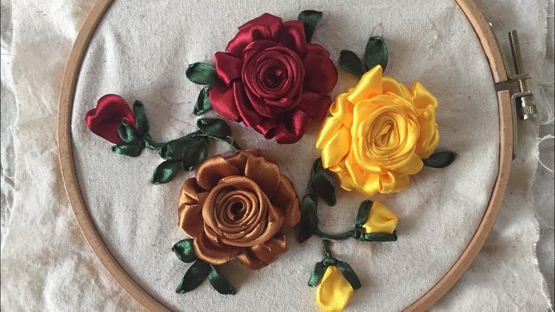 D.I.Y Ribbon Embroidery Rose Hướng dẫn thêu ruy băng hoa hồng đơn giả