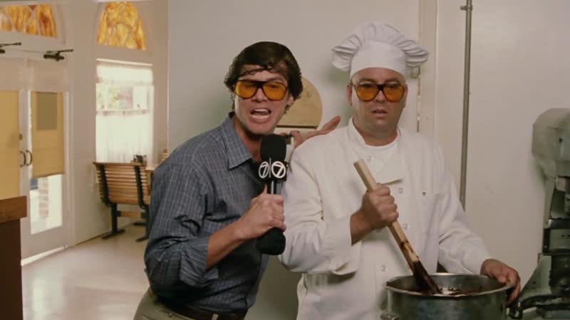 Джим Керри в Фильме Брюс Всемогущий Смешные Дубли со Съёмок