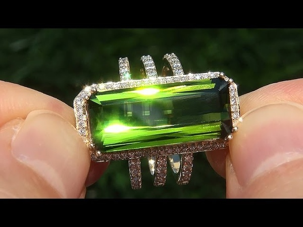 GIA Certified FLAWLESS Natural Green Tourmaline Diamond 14k Yellow Gold Estate Ring GEM - A141598