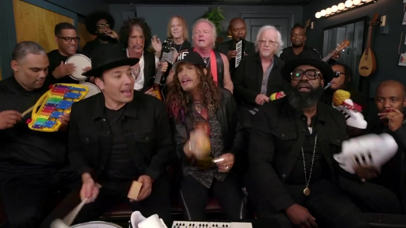 Aerosmith, The Roots, and Jimmy Fallon rock out with Tonight Show Classroom Instruments on Wednesday's The Tonight Show Starrin