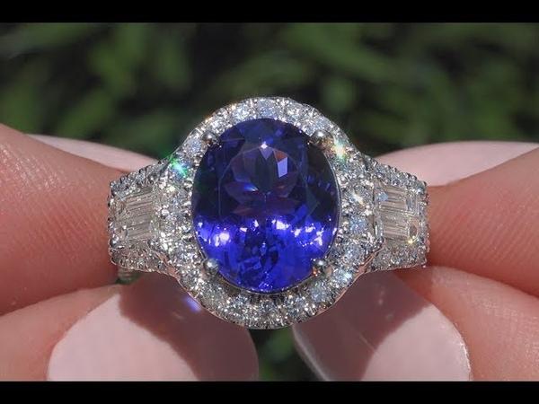 Double GIA Blue Violet IF Tanzanite Diamond Cocktail Ring 14k White Gold 6 50 tcw C1004