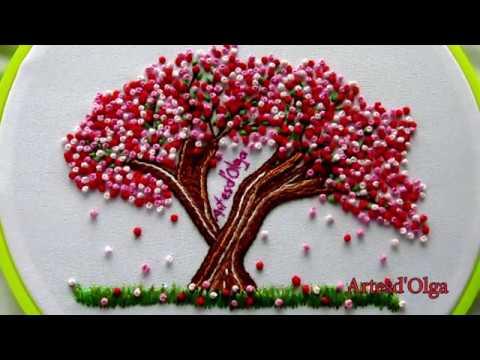 Sakura: Japanese Cherry Blossom Tree Embroidery |Arbol de cerezo bordado a mano|Artesd'Olga