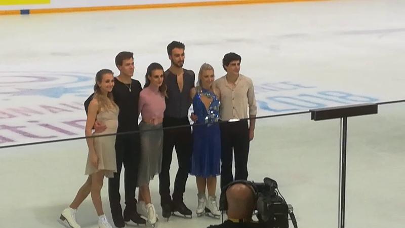 Victory Ceremony Ice Dance - Papadakis Cizeron Paurier Gilles Sinitsina Katsalapov - Grenoble Part 3