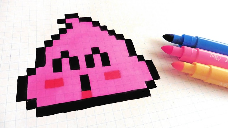 Handmade Pixel Art - How To Draw Pink Poop - Dr Slump pixelart