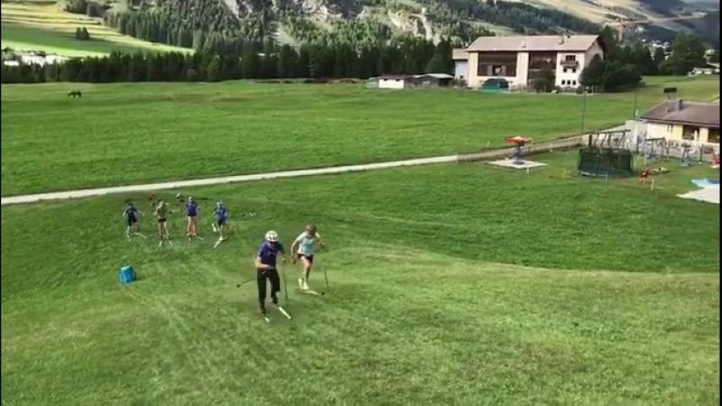 Кайса на сборе в Швейцарии вместе со сборной Финляндии по лыжным гонкам