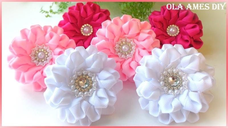 КанзашиЦветы из репсовой ленты МКDIY KanzashiGrosgrain Ribbon FlowerFlor de FitaOla ameS DIY