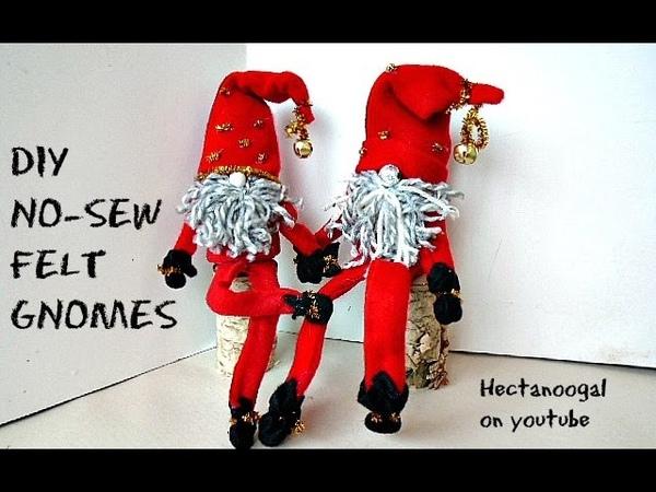 DIY NO-SEW FELT GNOMES, how to make cute elf figures, Christmas Decorations