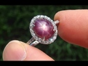 Certified Jewelry UNHEATED Natural Star Ruby Diamond 14k White Gold Cocktail Ring - A141731