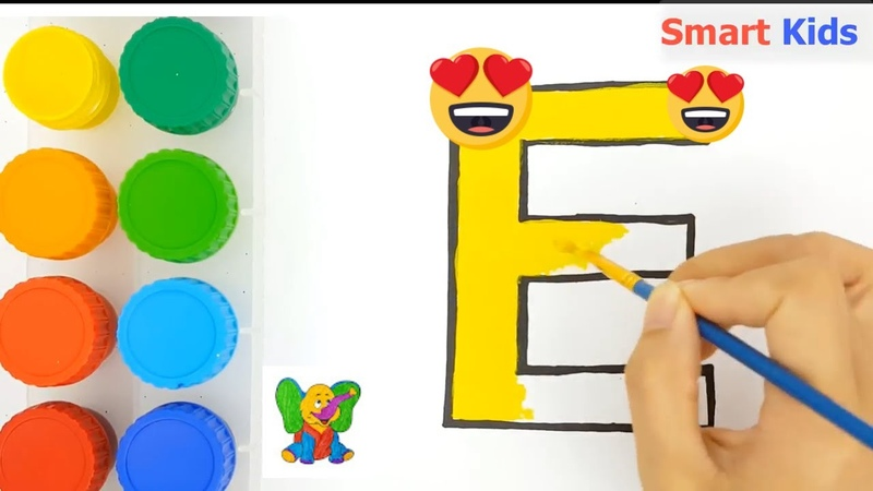 Colorful Alphabet | Drawing and painting the letter E |Learning colors