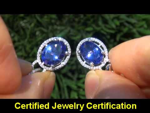 D-BLOCK 6.31 Carat Tanzanite Diamond Earrings Solid 14K Gold