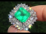 Estate NEON Green Natural Colombian Emerald Diamond 18k White Gold Vintage Cocktail Ring - A141595