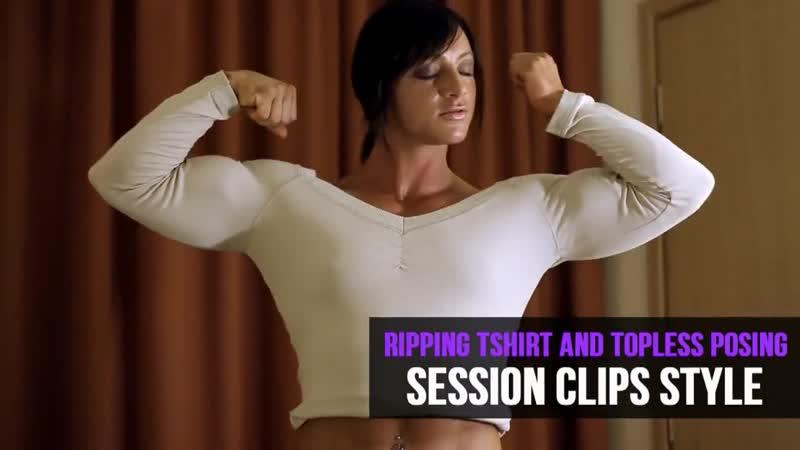 Katka Kyptova-Ripping Tshirt and Topless posing