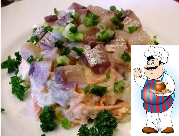 Салат с сельдью и овощами Очень простой и вкусный салатик. Ингредиенты: 1 средняя сельдь 4 средних картофеля 3 средних моркови 1 маленькая луковица 4 небольших огурчика 2 дольки чеснока зеленый