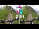 3D MTB Non-Stop Run by Downhill - Full HD POV 3D SBS VR Box