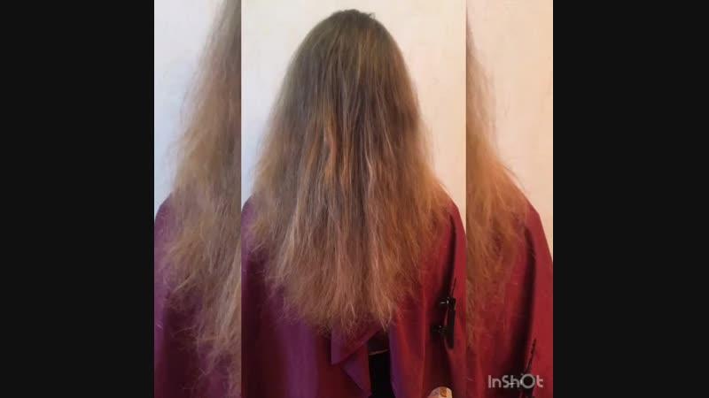 Масляный кератиновый реконструктор Состав смыт, волосы высушены феном ДО и ПОСЛЕ