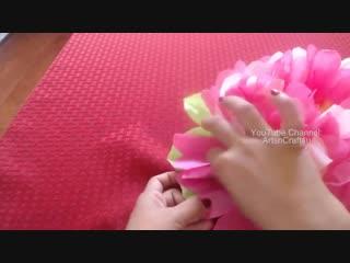 How to make tissue paper flower- super easy method_ christmas decoration