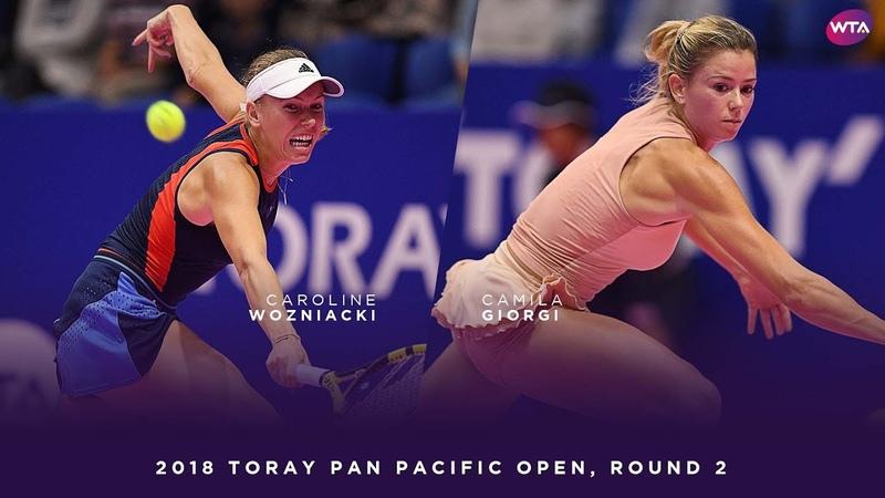Camila Giorgi vs. Caroline Wozniacki   2018 Toray Pan Pacific Open Round Two   WTA Highlights