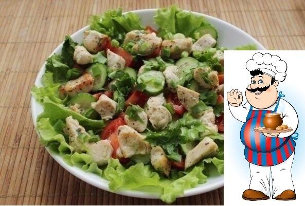салат из курицы и свежих овощей ингредиенты: -куриное филе — 1 шт. -помидоры — 3–4 шт. -огурцы — 1–2 шт. -листья салата -зеленый лук — 3 стебля -петрушка — 3–4 веточки -оливковое масло — 2 ст.л.