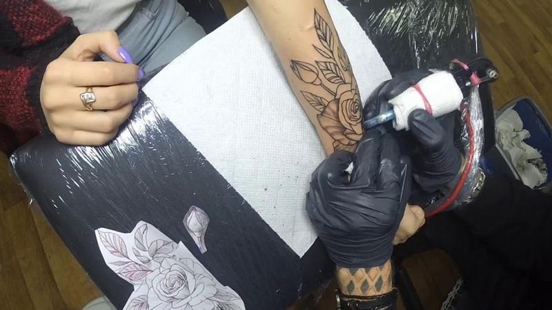 Flowers Tattoo - Time Lapse | Цветы Тату | Процесс Тату | Как Я Делаю Тату