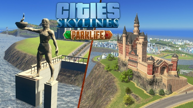 Cities Skylines Parklife - Замок лорда Чирпвика, статуя Колоссалуса! 59
