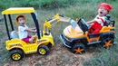 Dave Mario ride on power wheels car toy stuck in mud rescue by excavator toy of brother very fun