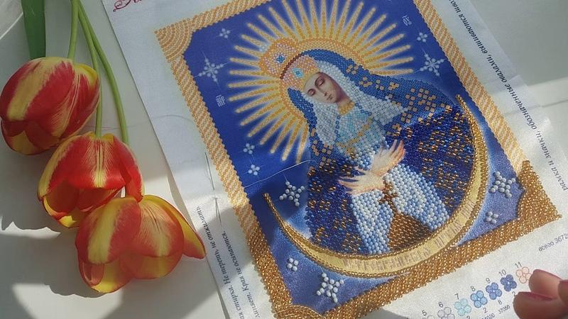 Вышивка бисером процесс Икона Остробрамская Божья Матерь от ТМ Тэла Артис
