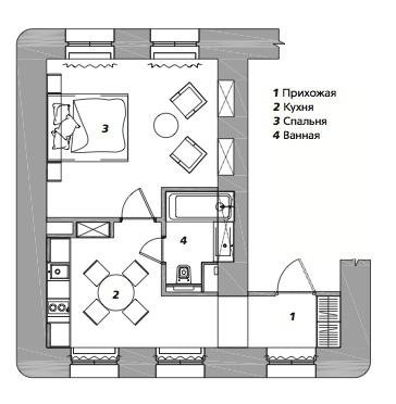Квартира для студентки в Москве, 35 м²