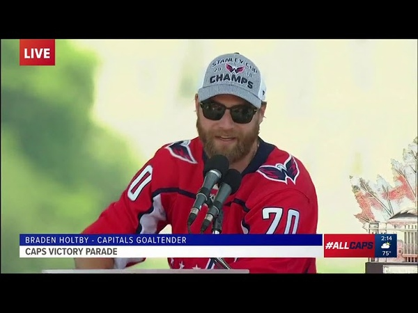 Capitals Goalie Braden Holtby speaks at Victory Parade