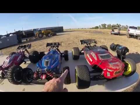 Arrma 6s, Tekno, Losi Raceway Carnage stacking it at Thunder Valley Race Park