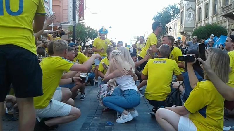 Болельщики сборной Швеции в Нижнем Новгороде