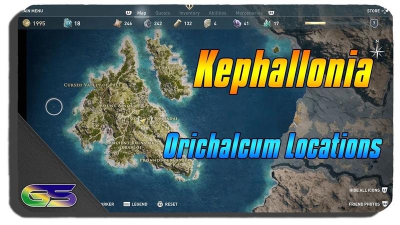 Assassins Creed Odyssey All Kephallonia Orichalcum Ore locations