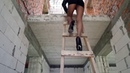 Extremely dangerous to climb and fall on the stairs in high heels in a mini skirt