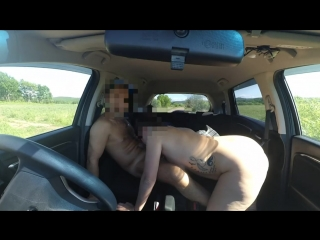 Amateur Couple Hot Fucking in a Car during Trip! Big Cock and Creamy Pussy!