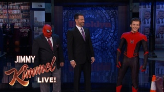 Том Холланд в новом костюме Человека-паука на шоу Джимми Киммела