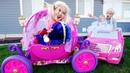 STOLEN Disney Princess Carriage! Harley Quinn steals Frozen Elsa Baby Cinderella's Car! Spiderman!
