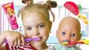 Лера КАК МАМА. Кукла БЕБИ БОН собирается на прогулку. Рутина выходного дня. Видео для детей