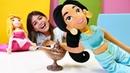 Disney prensesleri. Jasmine sihirli lambayı kaubediyor. Çocuk videosu