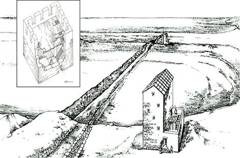 Узунларский вал поперек Керченского полуострова это крепостные стены вдоль рва с таможенными пунктами и башнями для сбора зерна.