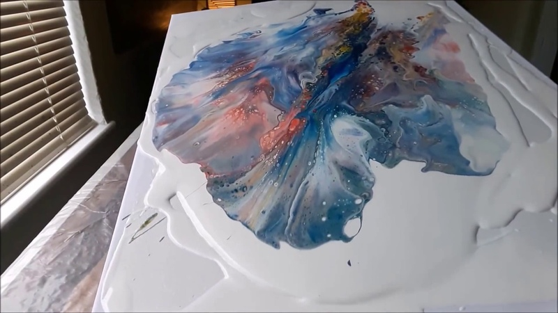 Acrylic Fluid Pouring Paint Bombing Another Technique..