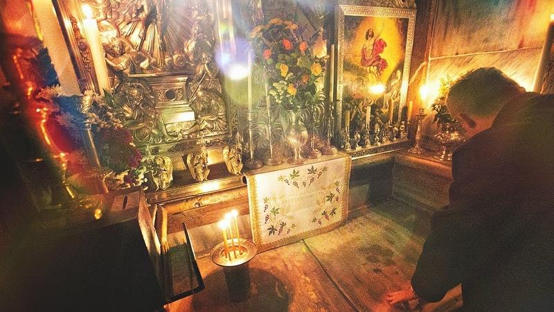 Уникальные кадры погребального Ложа Христа в Храме Гроба Господня.