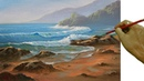 Acrylic Landscape or Seascape Painting Tutorial Morning at Beach with Crashing Waves by JM Lisondra