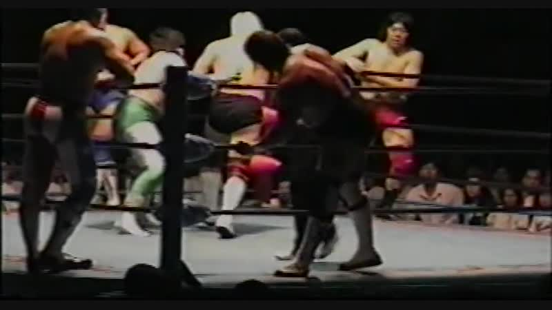 1996.06.03 - Mitsuharu Misawa/Jun Akiyama/Tamon Honda vs. Steve Williams/Johnny Ace/The Patriot [HANDHELD]