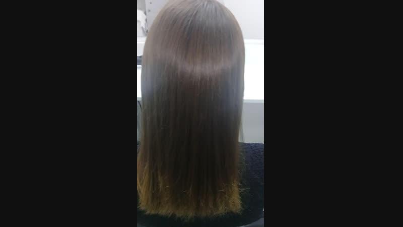 Кератин Состав смыт полностью Волосы высушены феном без расчески