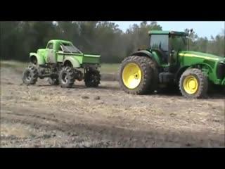 Chevy mega mud truck vs john deere tractor