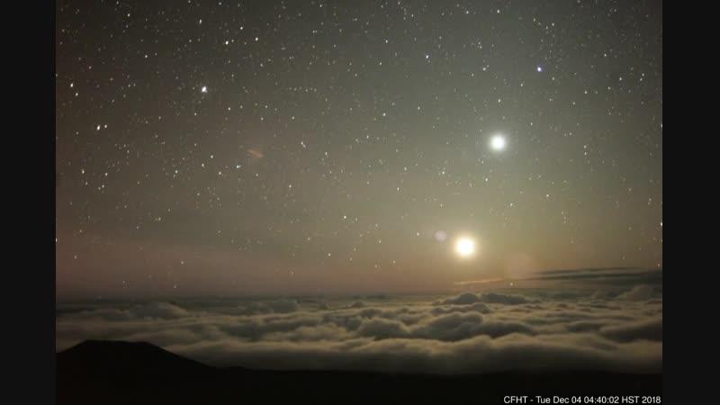 Как выглядит утреннее соединение (конъюнкция) Луны и Венеры c гавайского телескопа на горе Мауна-Кеа (04.12.2018)